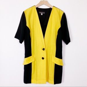 Vintage short sleeve blazer dress tunic yellow